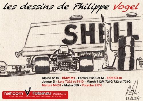 Philippe Vogel, dessins, Ferrari, Porsche